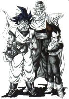 goku,piccolo,and vegeta by trunks24
