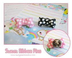 Sweet Ribbon Pins by MoogleGurl