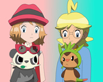 Chespin and Pancham with Clemont and Serena by PokeDramaFriends98