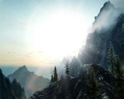 Skyrim screenshot: Sunrise in the Mountains by z-zombiecat