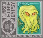 Cthulhu ATC for Mymylle June 2017 trade by dumpsterfiregypsy