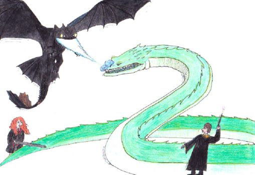 Mericcup and Toothless vs. Basilisk by JOSGUI
