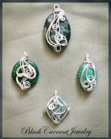 Silver and Green Pendants by blackcurrantjewelry