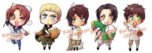 Hetalia Keychains group1 by T3hb33