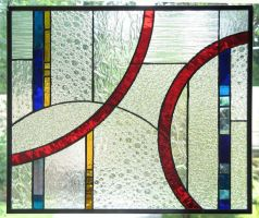 Geometric Stained Glass Panel by trilobiteglassworks