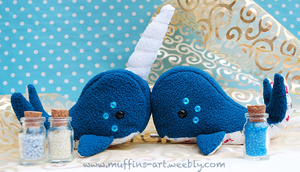 narwhal and whale plushies by TheArtOfMuffin