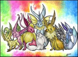 Eevee's evolutions by AudioSonora