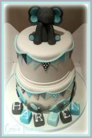 Baby Elephant Christening Cake by gertygetsgangster