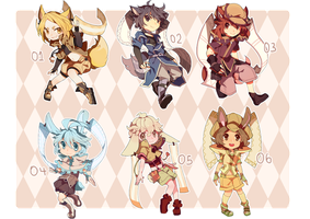 Adoptables: Lacynes Set 01 -CLOSED- by redsake-adopts