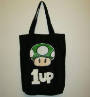 Super Mario 1UP Mushroom Tote by CherriKiss