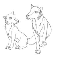 :Wolf pups line art: by Doomwing