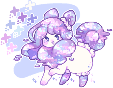 custom flufferbun: pastel galaxy cake! by blushbun