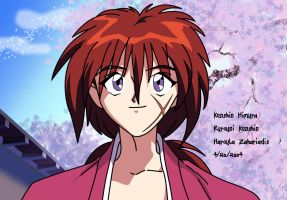 Close up of Kenshin smiling by MistressHaroula