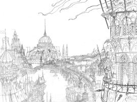 Orkhane, City of Harmundia (sketch / line) by Agalanthe