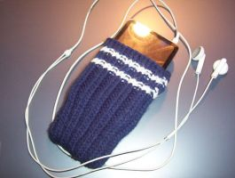 White-Striped Navy iPod Sock by EricaVee