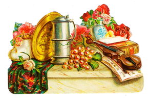 Vintage table scene clipart by jinifur
