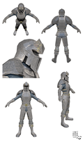 Low Poly Suit and Helmet 3D Model and Texture by ameshin