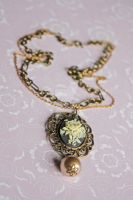 Cameo Necklace w Antique Pearl by dbvictoria