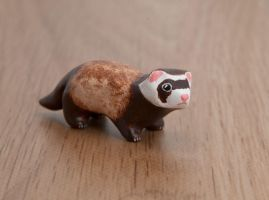 Ferret animal totem, polymer clay by lifedancecreations