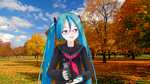 Lat Hatsune Miku - Autumn Pose In The Park by Redfield-1982
