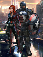 Captain AmericaXBlack Widow by WOLFBLADE111