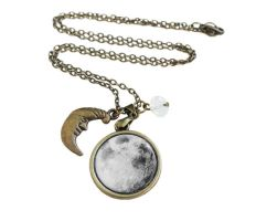 Vintage Antique Bronze Moon Charm Necklace by crystaland