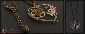 clockwork heart necklace by vucinka