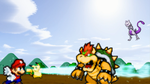 Art Trade: Mario and Pikachu vs. Bowser and Mewtwo by xXBrawlStudiosXx