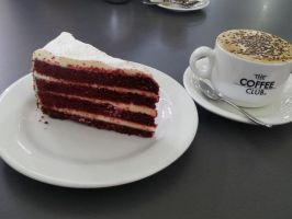 Red Velvet cake and cappuccino by Roses-and-Feathers