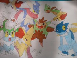 Pokemon starters - Generation VI by TheWolfInMe