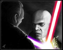 Mace Windu vs Darth Sidious by DarthPonda