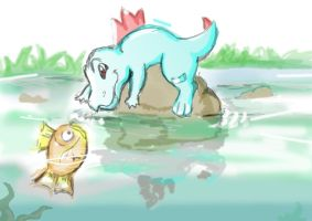 Totodile and magikarp by Windwolf667