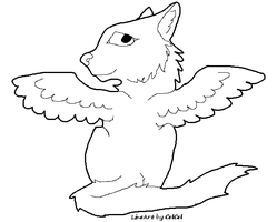 Winged Cat Lineart by CelCel98