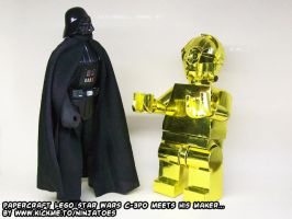 Papercraft LEGO Star Wars C-3PO meets his maker... by ninjatoespapercraft