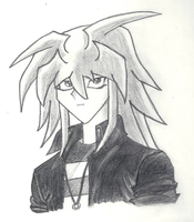 Yami Bakura--Black and White by YamiOkami118