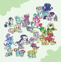 Pinkie Pie's sisters and some other ponies by cmaggot