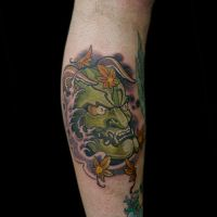 Hannya Mask With Falling Leaves by Origam-e