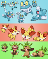 Gen Six Starter's by Deco-kun
