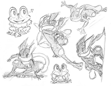 how to draw froakie frogadier and greninja