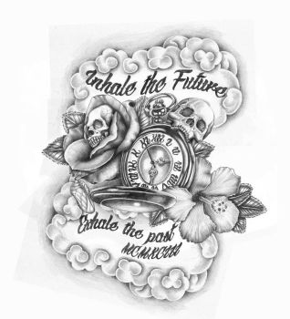 Skulls and Time Tattoo Design by GriffonGore