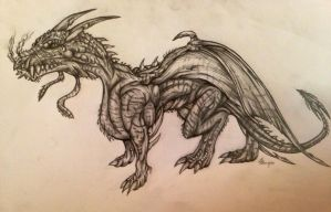 Detailed Hand-drawn Sketch of Dragon by lalafox456