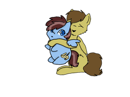 Chibi calm wind being hugged by rivet by mlplover789