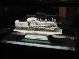 Master Ivory Carving of Casey Jones Locomotive by SteamRailwayCompany