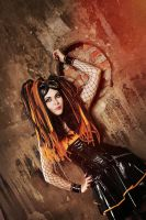 Orange cybergoth by mysteria-violent