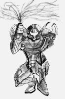 samus metroid pencil sketch by carlosiii
