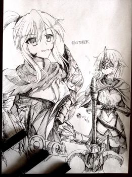 Knight Artoria and Jeanne by ZeroTheUltraDirector