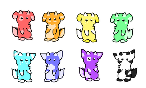 Rainbow Dango Derg Pups 2 by Rising-At-Midnight