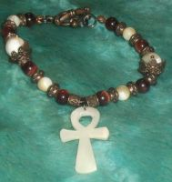 Red Tigerseye and Mother-of-Pearl Ankh Bracelet 1 by Windthin
