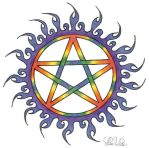 Fire Rainbow Pentagram by LWaite