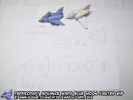 Papercraft Advance Wars Blue Moon Fighter WIP2 by ninjatoespapercraft